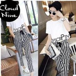 Cloud Nine - Set: Printed Cropped Top + Tie-Waist Striped Pants