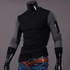 Seoul Homme - Zip-Trim Sleeve Color-Block T-Shirt