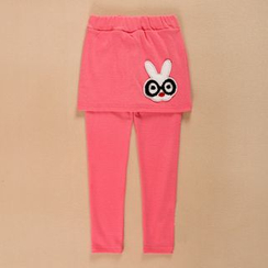 Lullaby - Kids Inset Rabbit Applique Skirt Leggings