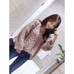 hellopeco - V-Neck Cable-Knit Top
