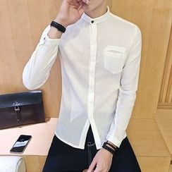 JORZ - Band-Collar Plain Shirt