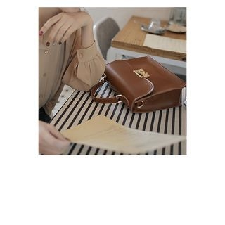 WITH IPUN - Flap Faux-Leather Tote with Strap
