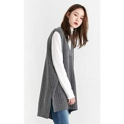 Someday, if - V-Neck Sleeveless Wool Blend Rib-Knit Top