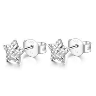 MaBelle - 14K Italian White Gold Tiny Star With Diamond Cut Stud Post Earrings, Women Girl Jewelry in Gift Box