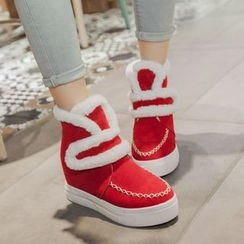 Pangmama - Faux-Fur Trim Velcro Ankle Boots
