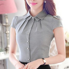 Eferu - Double Collar Cap Sleeve Chiffon Blouse