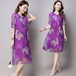 GLIT - Floral Print Short-Sleeve Chiffon Dress