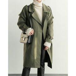 UPTOWNHOLIC - Belted-Detail Wool Blend Coat