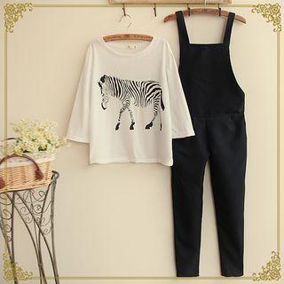 Fairyland - Set: Zebra Print T-Shirt + Overalls