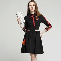 Elabo - Embroidered Long-Sleeve Shirtdress