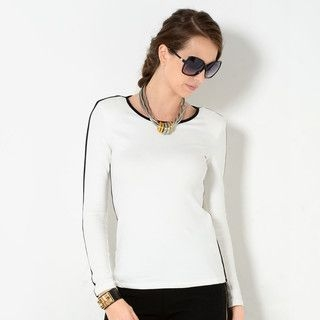 YesStyle Z - Contrast Trim Long-Sleeved T-Shirt