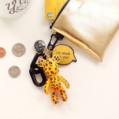 Full House - Bomgom - Leopard-Print Bear Key Chain (with Faux-Leather Pouch)