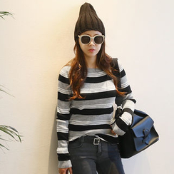 NANING9 - Crewneck Striped Knit Top