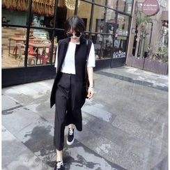 Happy Bird - Long Vest / Wide-Leg Cropped Pants