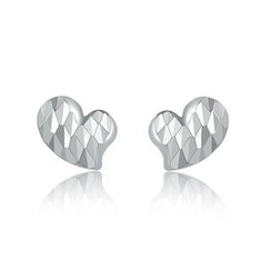 MaBelle - 14K/585 White Gold Heart Diamond Cut Stud Earrings