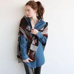 NIPONJJUYA - Flap-Pocket Long Denim Shirt