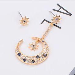 Gioia - Moon and Star Non-matching Rhinestone Earrings