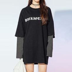 Heynew - Lettering Mock Two-Piece Tunic