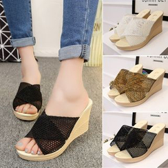 BAYO - Mesh Panel Wedge Slide Sandals