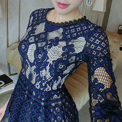 Arroba - Long-Sleeve Lace Tie Waist Dress
