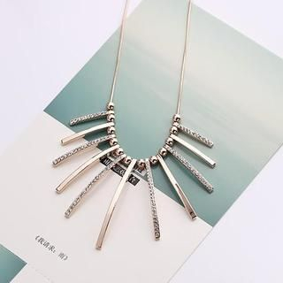 Love Generation - Rhinestone Metal Bar Necklace