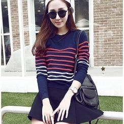 YOZI - Set: Striped Knit Top + Neoprene A-Line Skirt