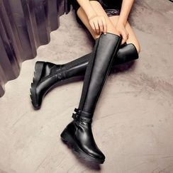 JY Shoes - Star Studded Faux Leather Over-the-Knee Boots