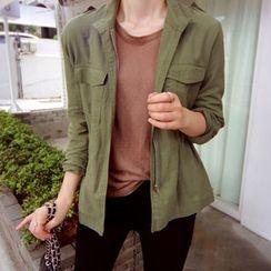 LEELIN - Dual-Pocket Drawstring-Waist Jacket