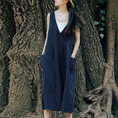 Plum Forest - Linen Sleeveless Playsuit