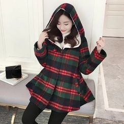 Aigan - Fleece-Lined Plaid Hooded Buttoned Coat
