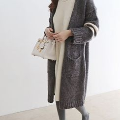 DAILY LOOK - Open-Front Contrast-Trim Long Cardigan