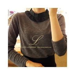 LEELIN - Chiffon Mock-Neck T-Shirt