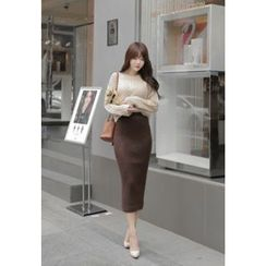 MyFiona - Set: Knit Top + Rib-Knit Long Skirt