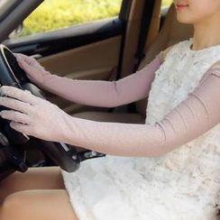 羚羊早安 - 飾結蕾絲長手套