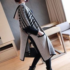 YIDIYU - Patterned Hooded Elbow Sleeve Long Knit Cardigan