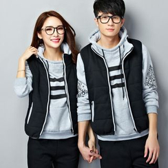 Bonne Nuit - Couple Matching Set: Fleece-lined Hoodie + Vest + Sweatpants