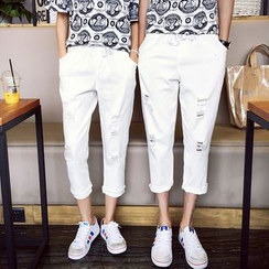 Evolu Fashion - Couple Matching Distressed Drawstring Waist Cropped Pants
