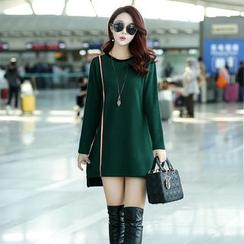 YAMI - 条纹贴布绣长袖针织裙衣
