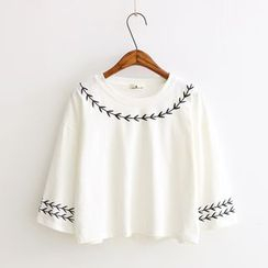 Vateddy - Embroidered Elbow Sleeve Cropped T-Shirt