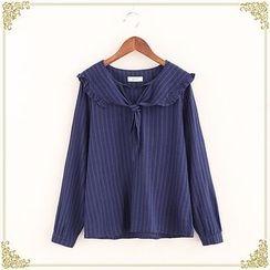 Fairyland - Frill Trim Sailor Collar Long-Sleeve Blouse