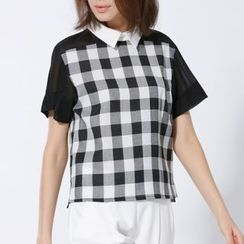 Shangman - Gingham Short-Sleeve Collared Top