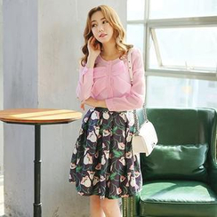 LULUS - Set: Long-Sleeve Bow-Accent Top + Printed Pleated Skirt
