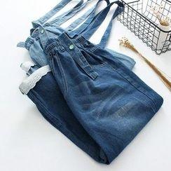 Vateddy - 水洗背帶七分牛仔褲