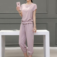 Enjoi - Set: Short-Sleeve Chiffon Top + Capri Pants