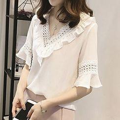 Fashion Street - Lace Trim Bell-Sleeve Chiffon Blouse