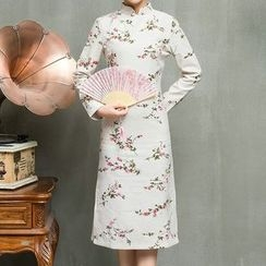 Fashion Street - Printed Long Sleeve Midi Qipao