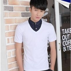 SOLER - Mock Two-piece Short-Sleeve Collared Top
