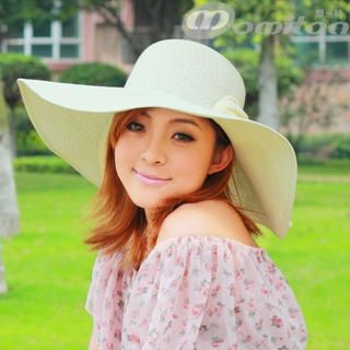 Momiton - Bow-Accent Straw Sun Hat