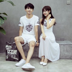 Je T'aime - Couple Matching Short-Sleeve Print T-Shirt / Sleeveless Maxi Dress