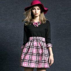 洛圖 - 羊毛混紡七分袖拼接連衣裙